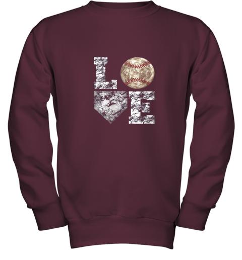 udrq baseball distressed ball cute dad mom love gift youth sweatshirt 47 front maroon