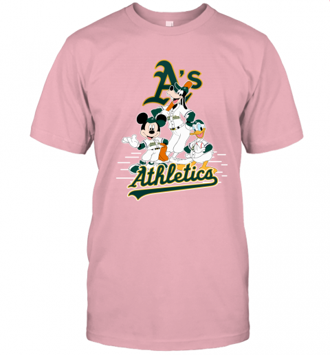 1eru oakland athletics mickey donald and goofy baseball jersey t shirt 60 front pink