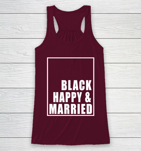 Black Happy And Married Racerback Tank 2