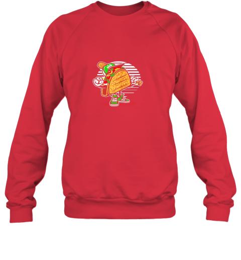 leoz taco baseball shirt baseball playing taco sweatshirt 35 front red