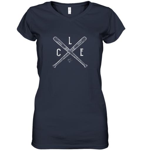 g7om vintage cleveland baseball shirt cleveland ohio women v neck t shirt 39 front navy