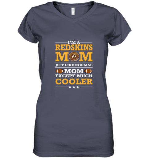 pj0o i39 m a redskins mom just like normal mom except cooler nfl women v neck t shirt 39 front heather navy