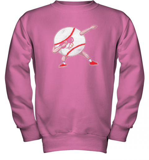 2pwu kids funny dabbing baseball player youth shirt cool gift boy youth sweatshirt 47 front safety pink