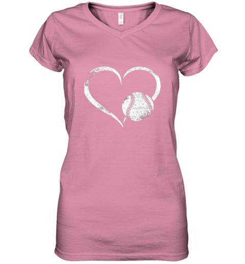 x7oe i love baseballl funny baseball lover heartbeat women v neck t shirt 39 front azalea
