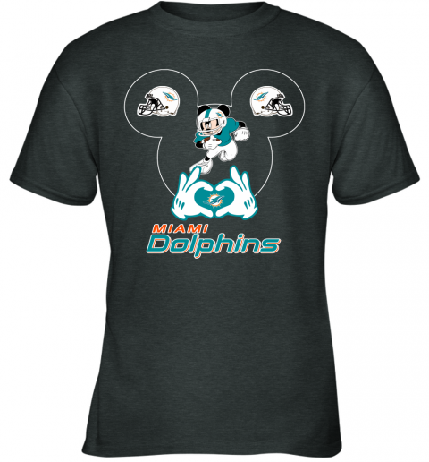rovl i love the dolphins mickey mouse miami dolphins youth t shirt 26 front dark heather