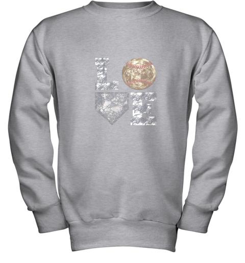 udrq baseball distressed ball cute dad mom love gift youth sweatshirt 47 front sport grey