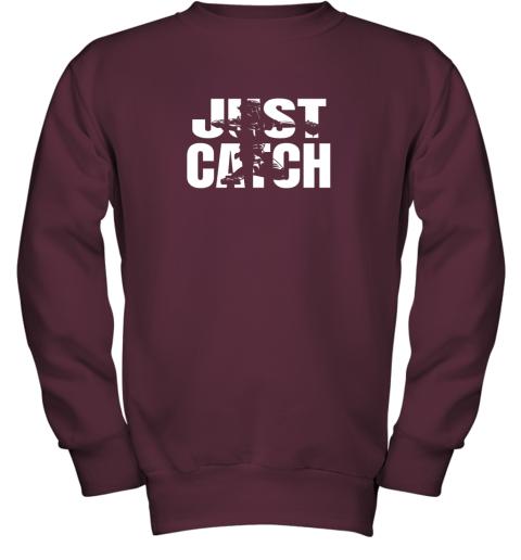 x02p just catch baseball catchers long sleeve shirt baseballisms youth sweatshirt 47 front maroon