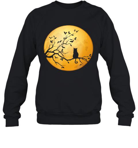 Silhouette Cat in Tree Full Moon Halloween Sweatshirt