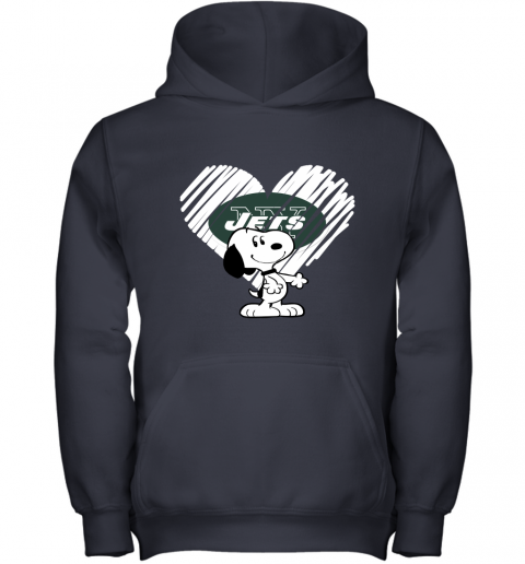 lvum i love new york jets snoopy in my heart nfl youth hoodie 43 front navy