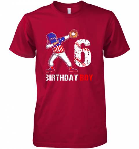 y2qy kids 6 years old 6th birthday baseball dabbing shirt gift party premium guys tee 5 front red
