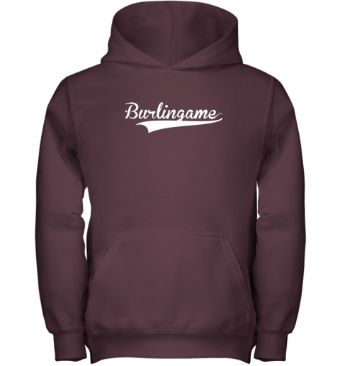 sn8z burlingame baseball softball styled youth hoodie 43 front maroon