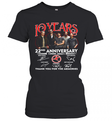 10 Years 22Nd Anniversary 1999 2021 Thank You For The Memories Signatures Women's T-Shirt