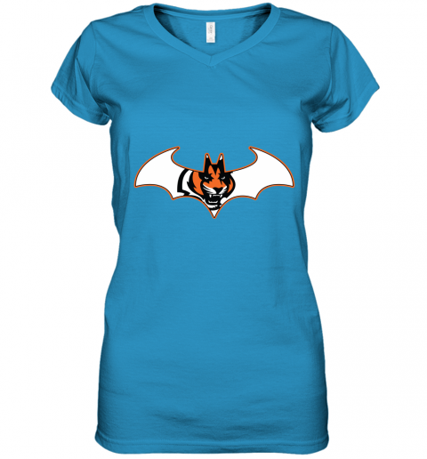 wop9 we are the cincinnati bengals batman nfl mashup women v neck t shirt 39 front sapphire