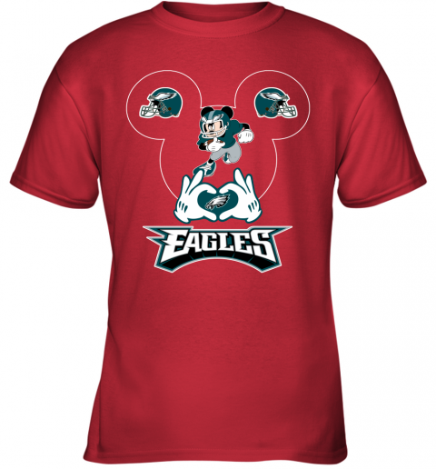 vwqs i love the eagles mickey mouse philadelphia eagles youth t shirt 26 front red