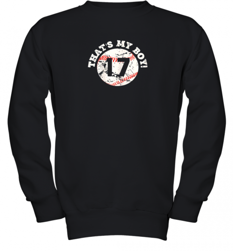That's My Boy #17 Baseball Player Mom or Dad Gift Youth Sweatshirt