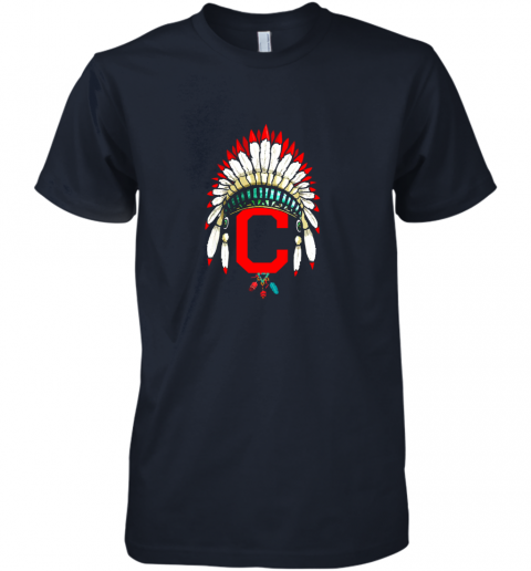 unpk new cleveland hometown indian tribe vintage for baseball premium guys tee 5 front midnight navy