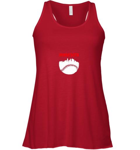 yqlm retro minnesota baseball minneapolis cityscape vintage shirt flowy tank 32 front red