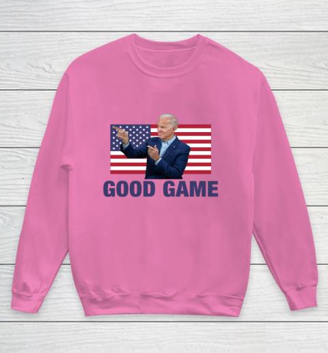 Good Game Joe Biden American Flag Winner Democrat Byedon Youth Sweatshirt 3