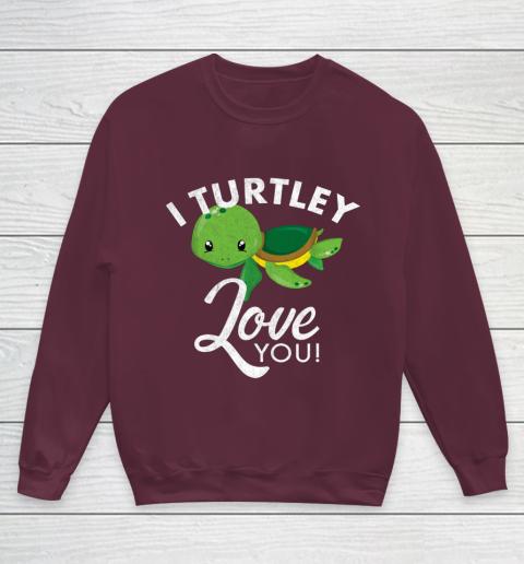 Cute Valentines Turtle I Turtley Love You Valentine Gift Youth Sweatshirt 4
