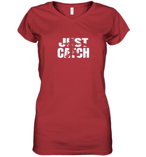 m42j just catch baseball catchers gear shirt baseballin gift women v neck t shirt 39 front red