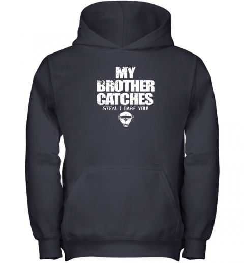 tjjj cool baseball catcher funny shirt cute gift brother sister youth hoodie 43 front navy
