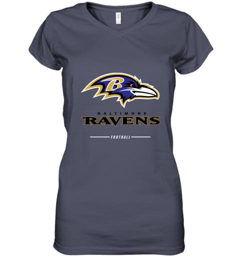 9pfj mens baltimore ravens nfl pro line black team lockup t shirt women v neck t shirt 39 front heather navy