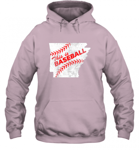 axqo this is baseball arkansas with red laces hoodie 23 front light pink