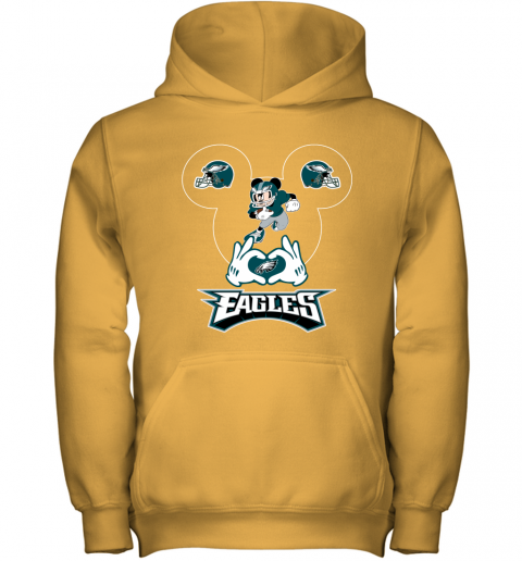 wom3 i love the eagles mickey mouse philadelphia eagles youth hoodie 43 front gold