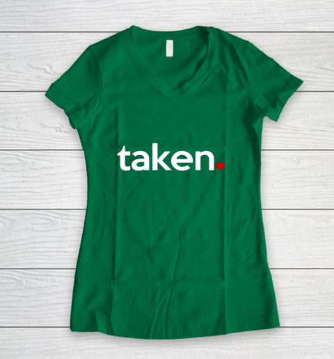 Taken Sorry I m Taken Gift for Valentine 2021 Couples Women's V-Neck T-Shirt 3