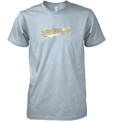 xfmq savage shirt retro 1970s baseball script font premium guys tee 5 front light blue