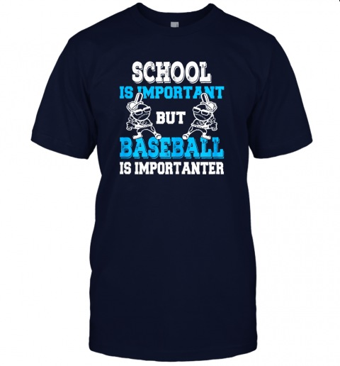 9ksg school is important but baseball is importanter boys jersey t shirt 60 front navy