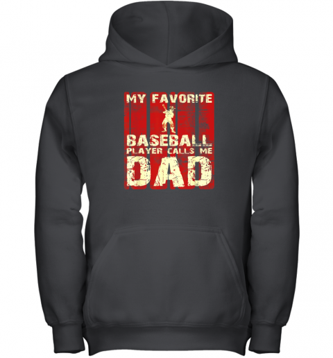 Mens My Favorite Baseball Player Calls Me Dad Retro Gift Youth Hoodie