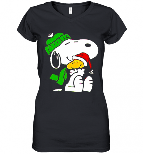 Snoopy And Woodstock Wear Pajama Christmas Women's V-Neck T-Shirt