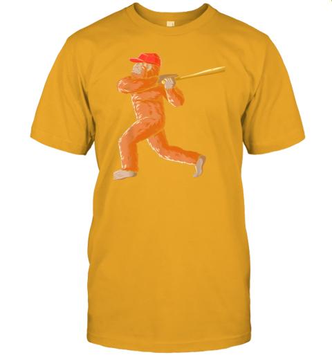 dtdx bigfoot baseball sasquatch playing baseball player jersey t shirt 60 front gold