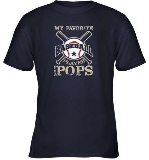 yzdx mens my favorite baseball player calls me pops youth t shirt 26 front navy