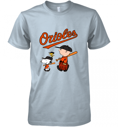 jtn3 baltimore orioles lets play baseball together snoopy mlb shirt premium guys tee 5 front light blue