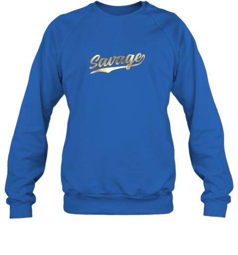 hw0q savage shirt retro 1970s baseball script font sweatshirt 35 front royal