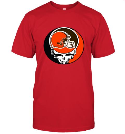 kdsp nfl team cleveland browns x grateful dead logo band jersey t shirt 60 front red