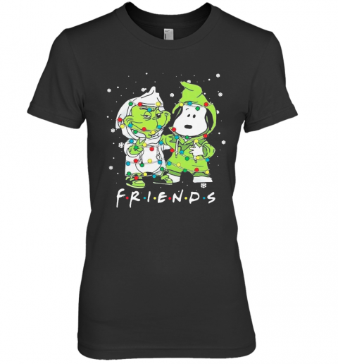 Baby Grinch And Snoopy Friends Merry Christmas Light Premium Women's T-Shirt