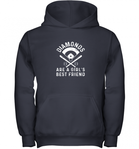 qc1q diamonds are a girl39 s best friend baseball youth hoodie 43 front navy