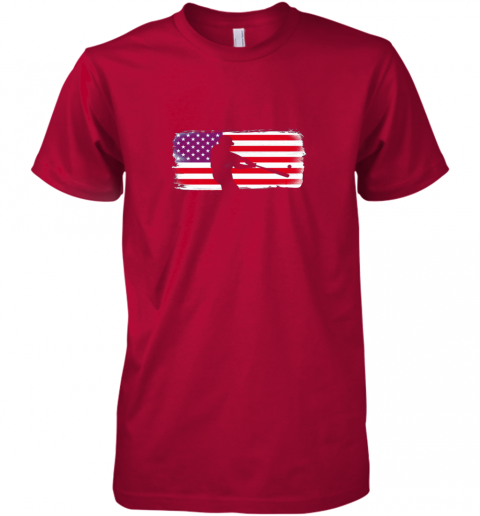 tk9z usa american flag baseball player perfect gift premium guys tee 5 front red