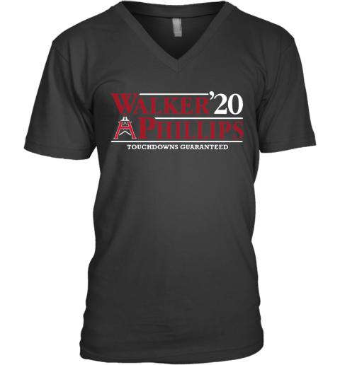 Walker Phillips 2020 Touchdowns Guaranteed V-Neck T-Shirt