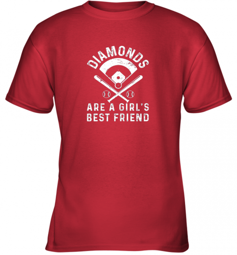 z1bo diamonds are a girl39 s best friend baseball youth t shirt 26 front red