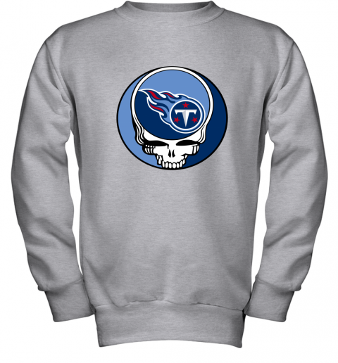 kw6l nfl team tennessee titans x grateful dead logo band youth sweatshirt 47 front sport grey