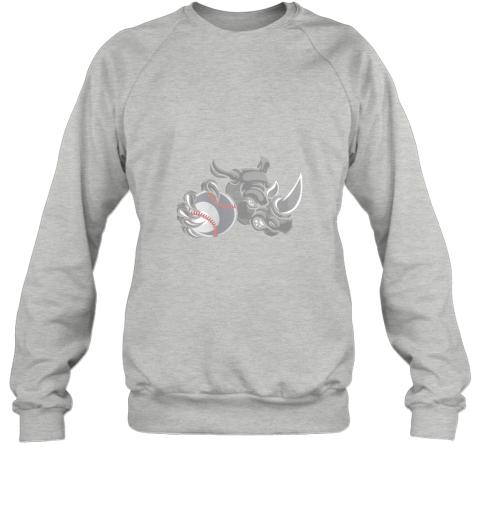 qexm rhino baseball ball sports mascot sweatshirt 35 front sport grey