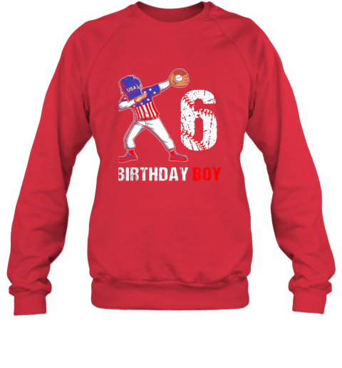 qcpt kids 6 years old 6th birthday baseball dabbing shirt gift party sweatshirt 35 front red