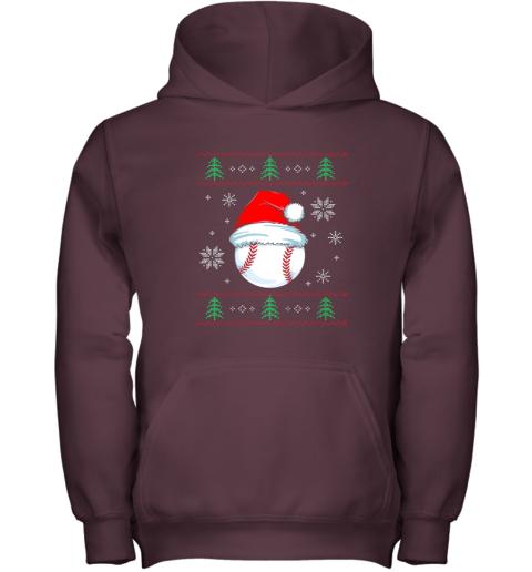 zjj9 ugly christmas baseball shirt boys kids ball santa pajama youth hoodie 43 front maroon