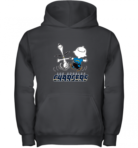 Snoopy And Charlie Brown Happy Los Angeles Charger Youth Hoodie