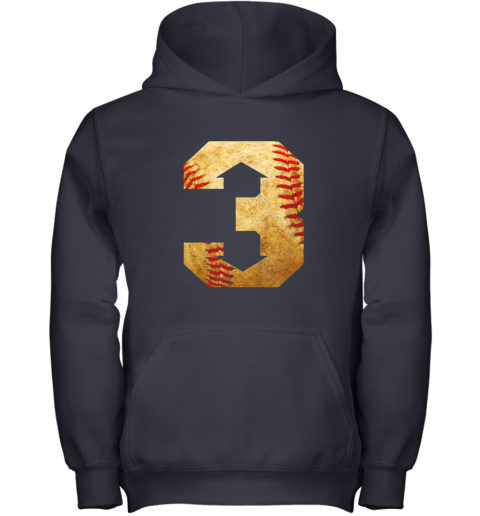 i1ey three up three down baseball 3 up 3 down youth hoodie 43 front navy