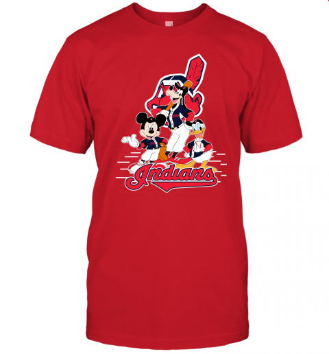 j8x3 cleveland indians mickey donald and goofy baseball jersey t shirt 60 front red